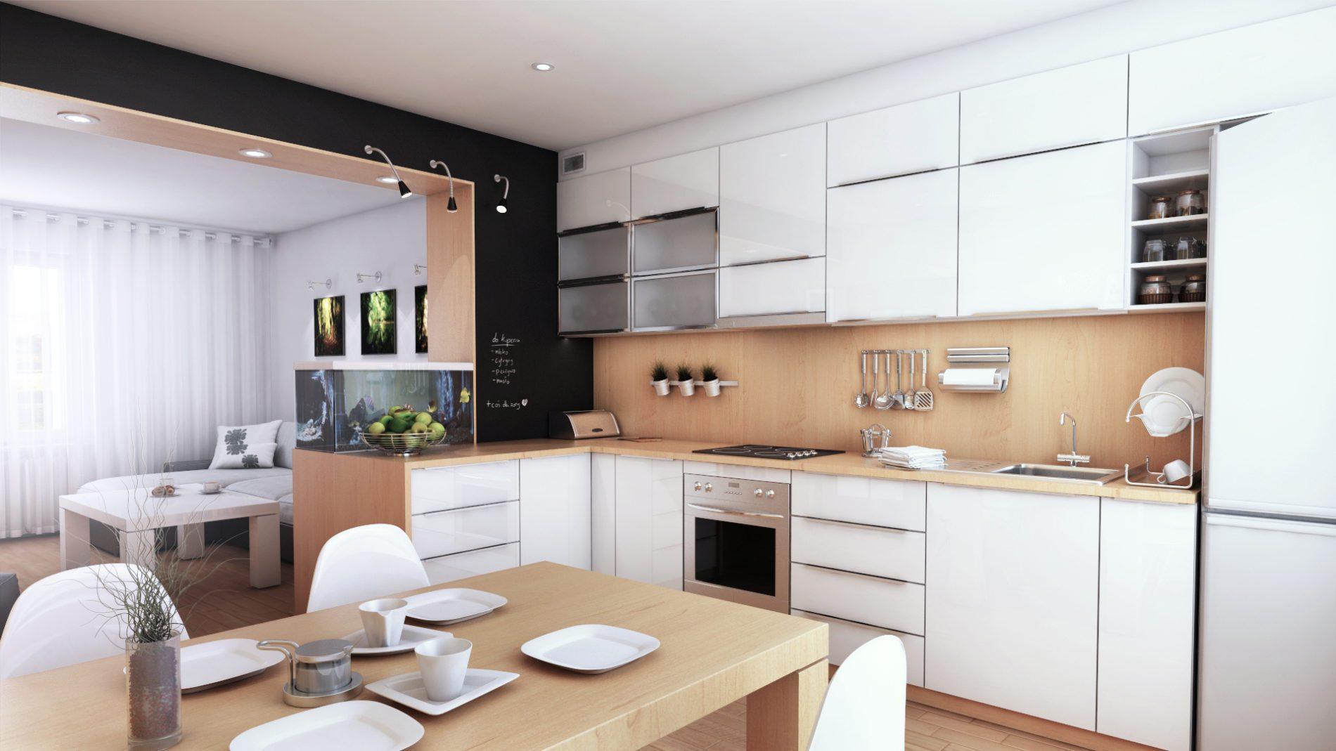 projekt aranżacja mieszkania w orzeszu kuchnia i salon