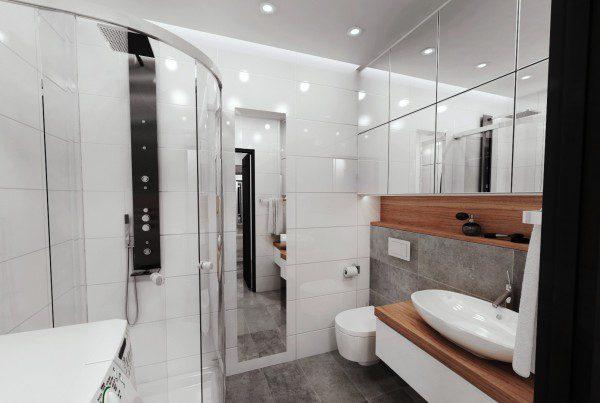 projekt nowoczesnej łazienki w bloku, Katowice
