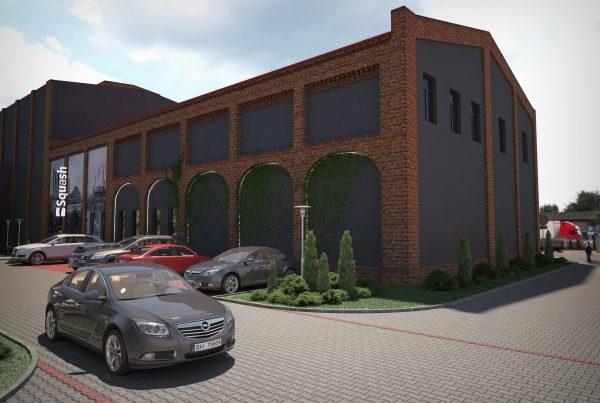 projekt elewacji hali przemysłowej invest park Chorzów