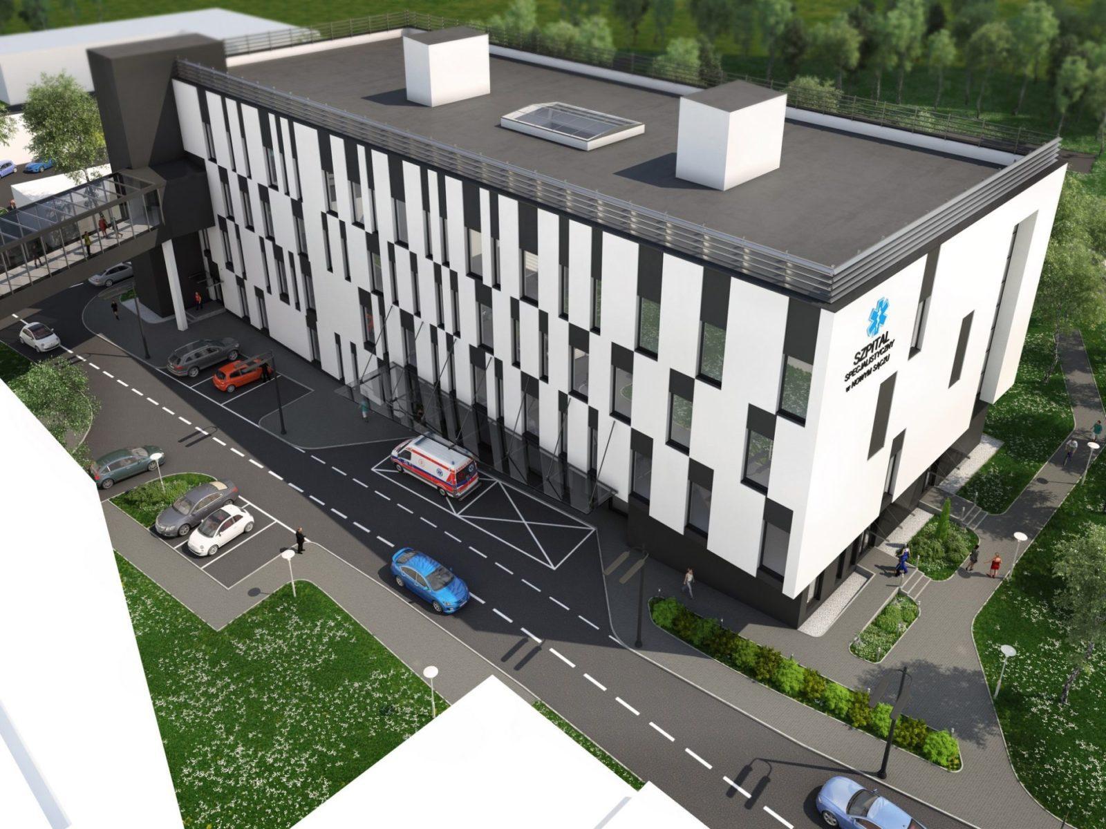 fotorealistyczna wizualizacja szpitalu w Nowym Sączu małopolskie