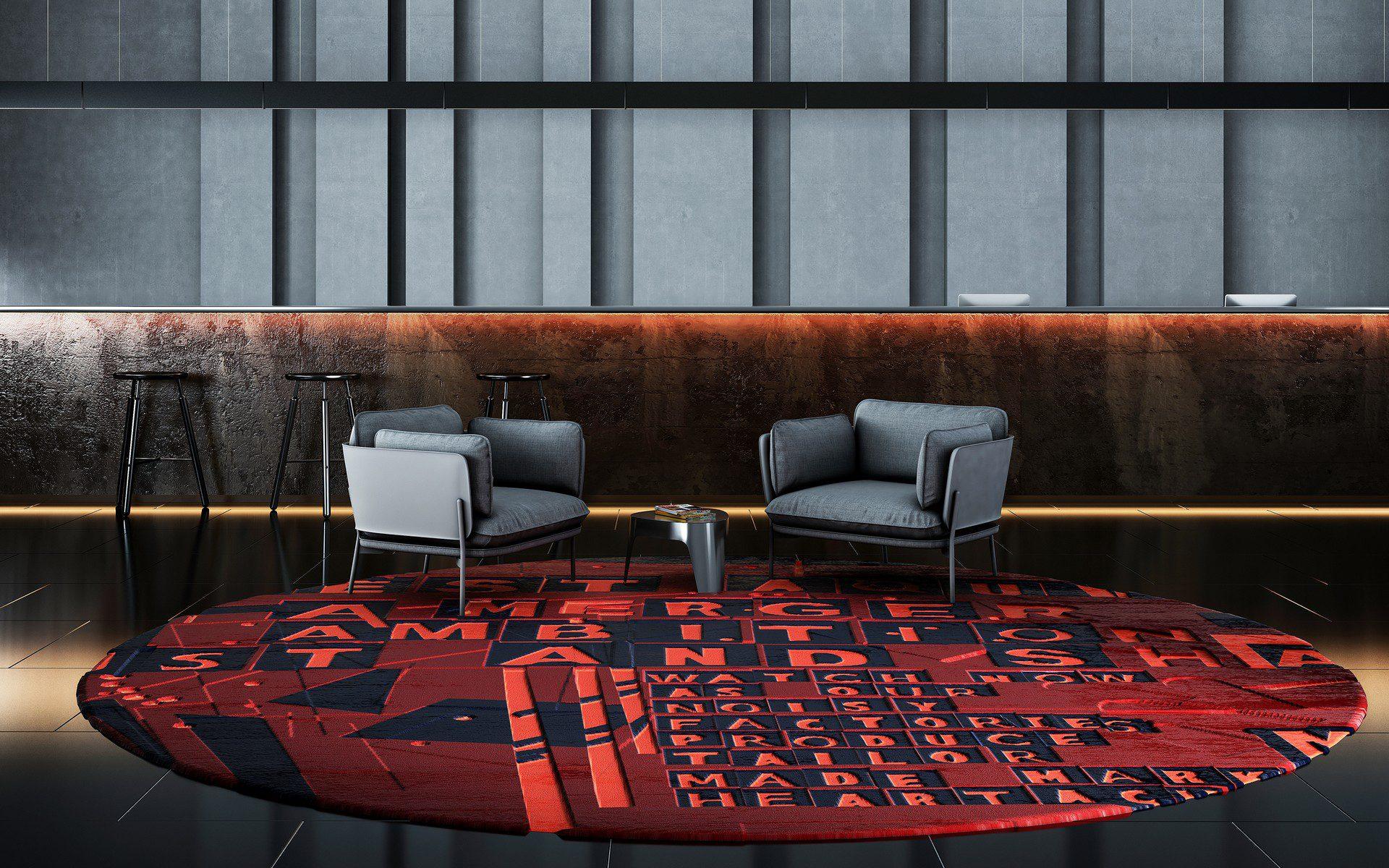 wizualizacja hotelu poczekalni dywany urban fabric