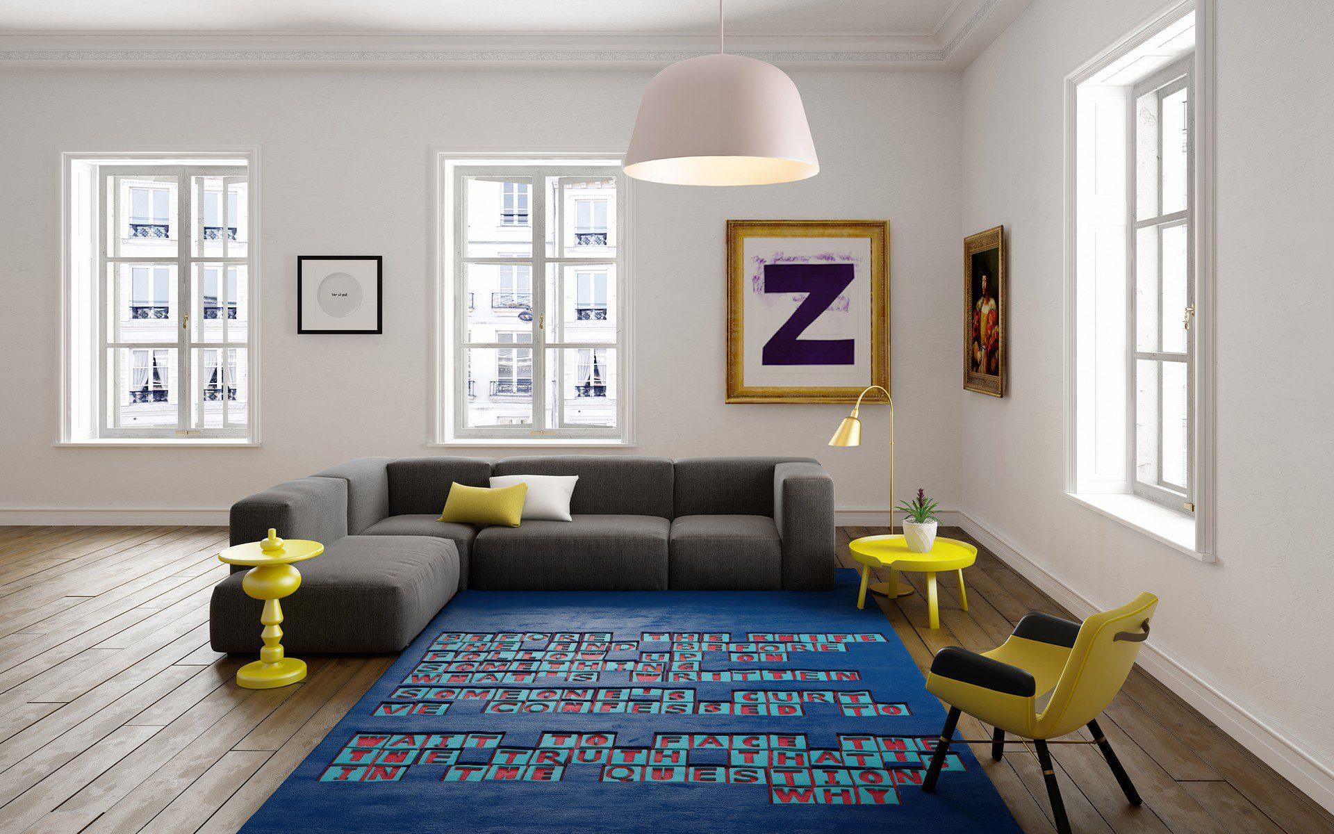 wizualizacja architektoniczna wnętrza mieszkania z dywanami urban fabric