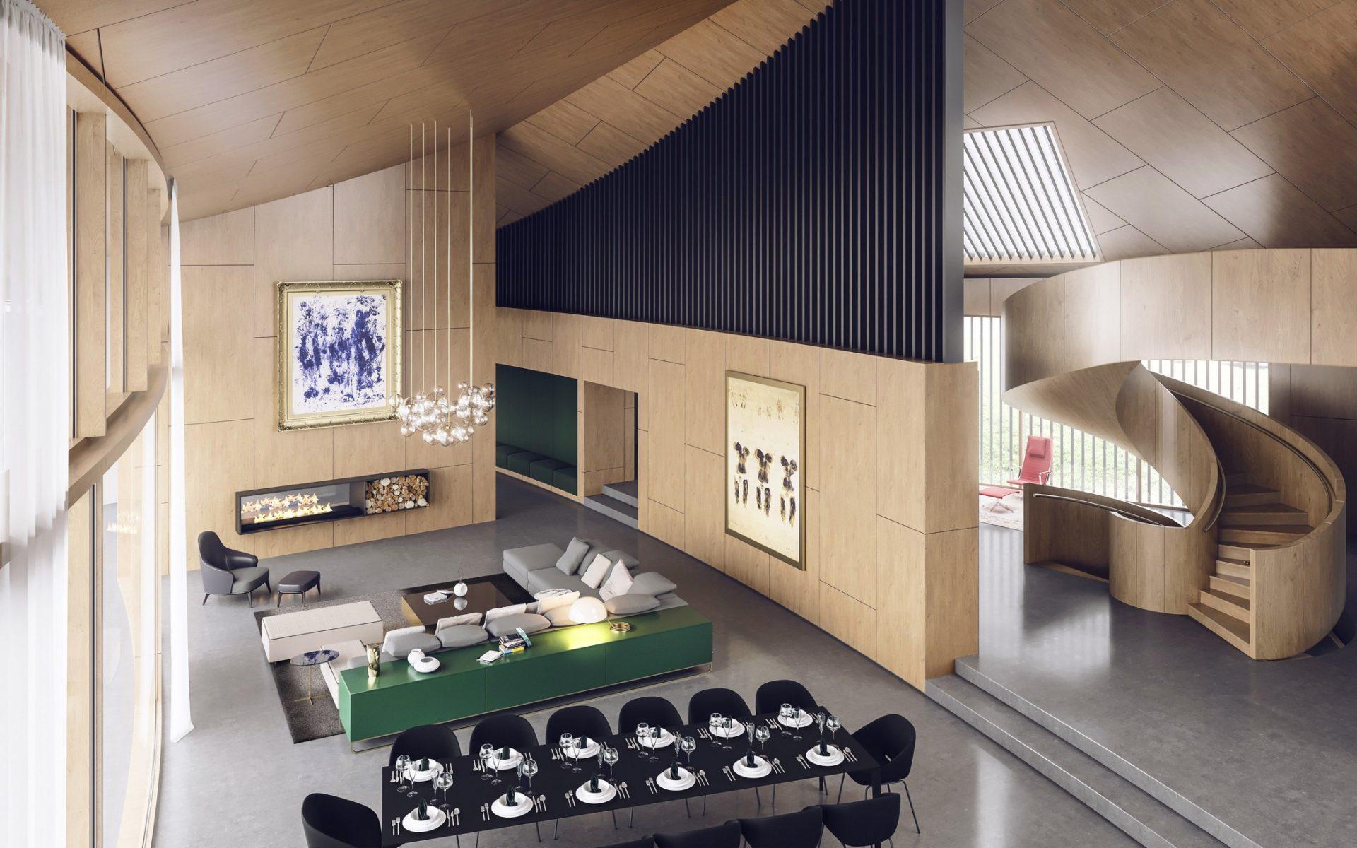 kominek salon w dom jednorodzinny w drewnie wizualizacja