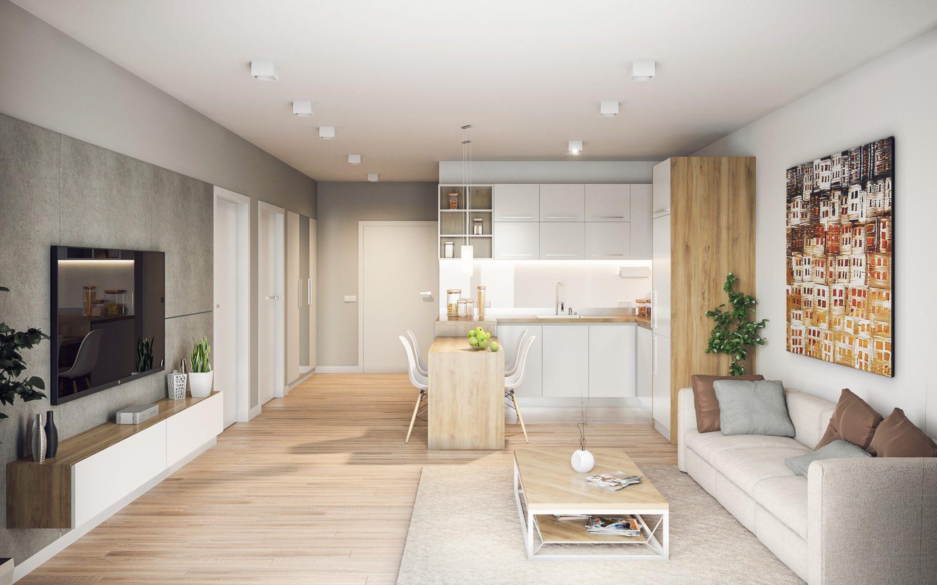 projekt wizualizacja aranżacja mieszkania w bloku salon