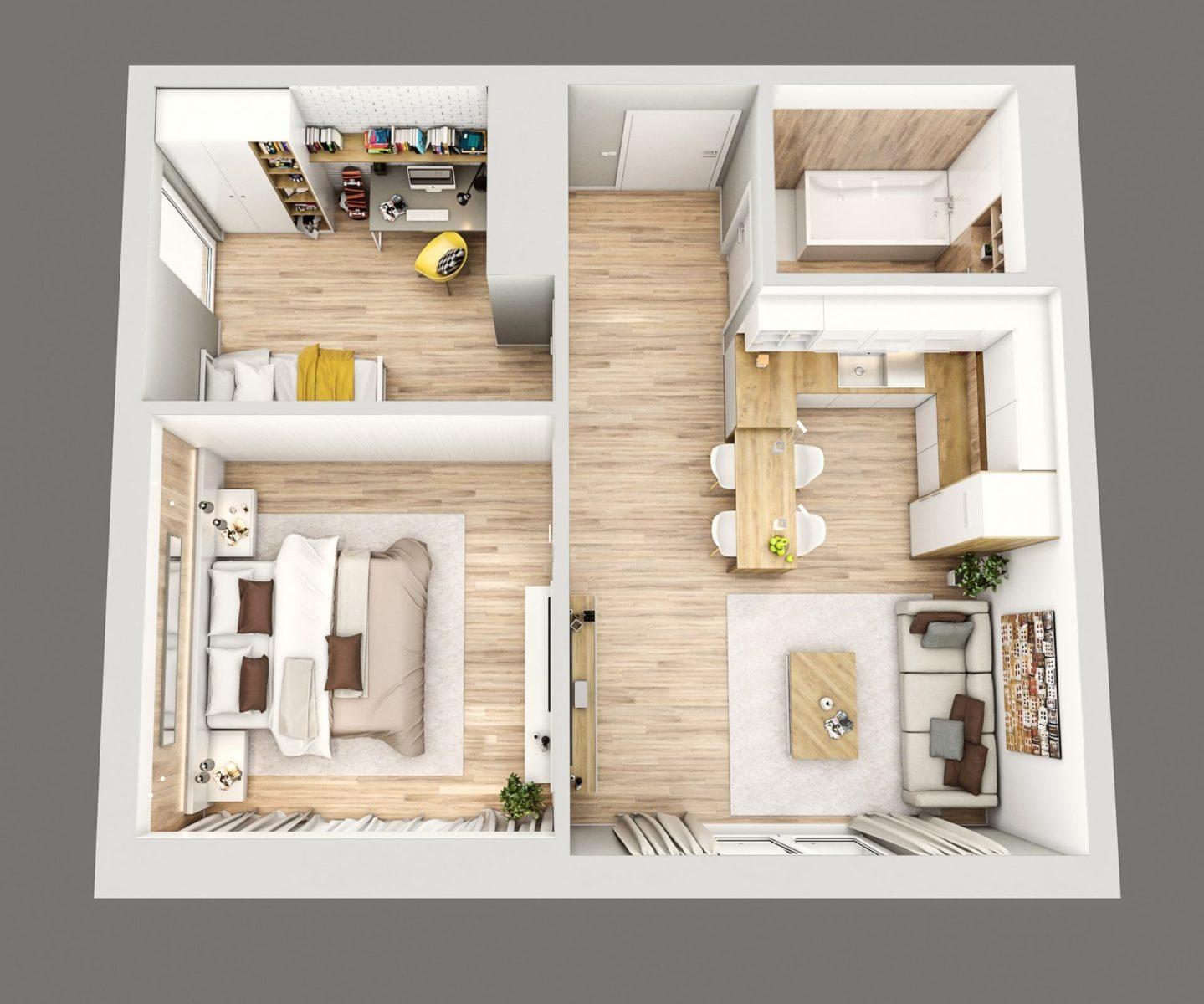 rzut mieszkania 3d przykładowa aranżacja projekt wizualizacja