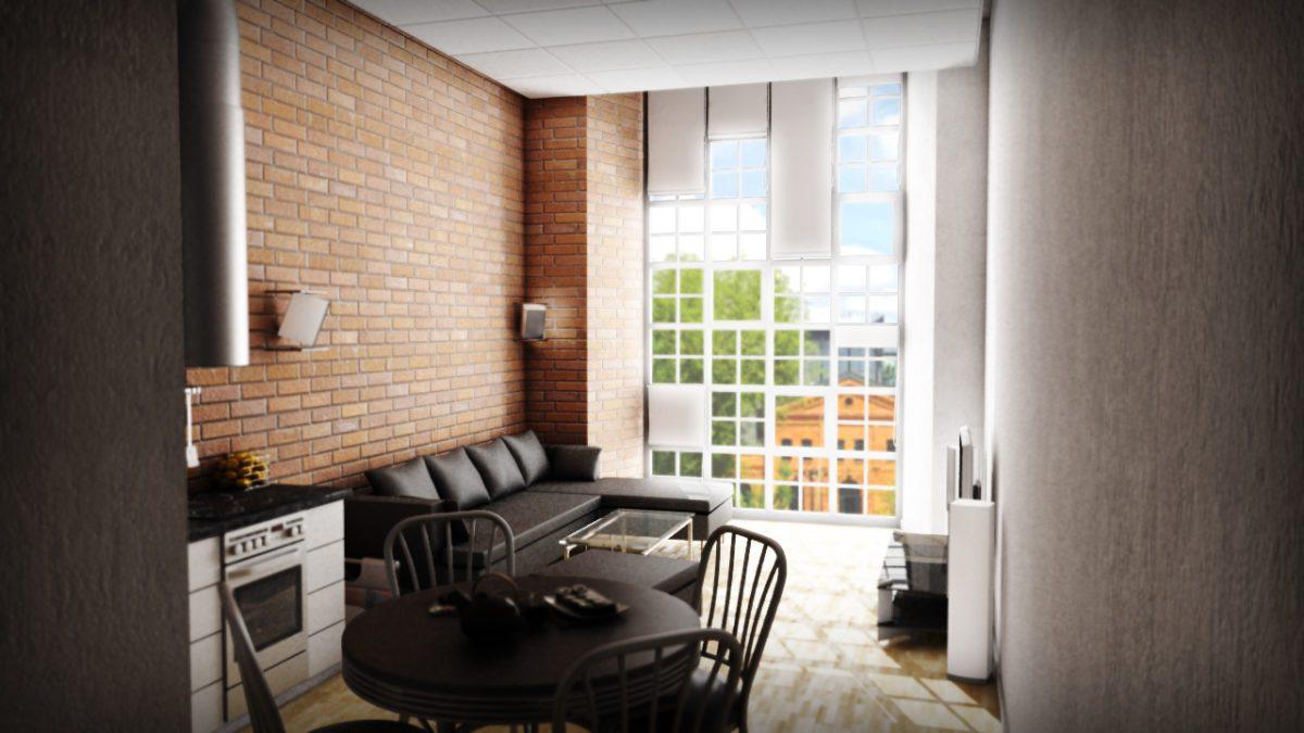 projekt salonu w stylu loftowym