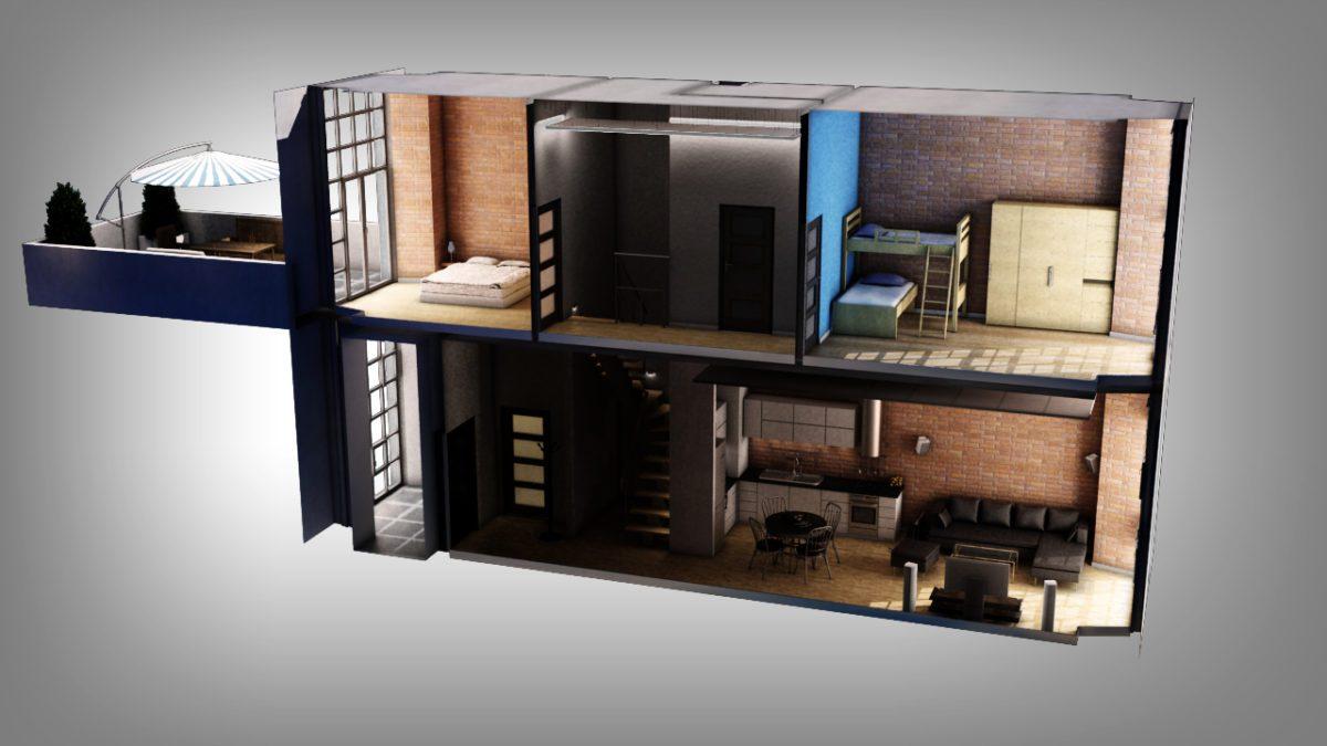 przekrój aranżacja mieszkania w stylu loftowym