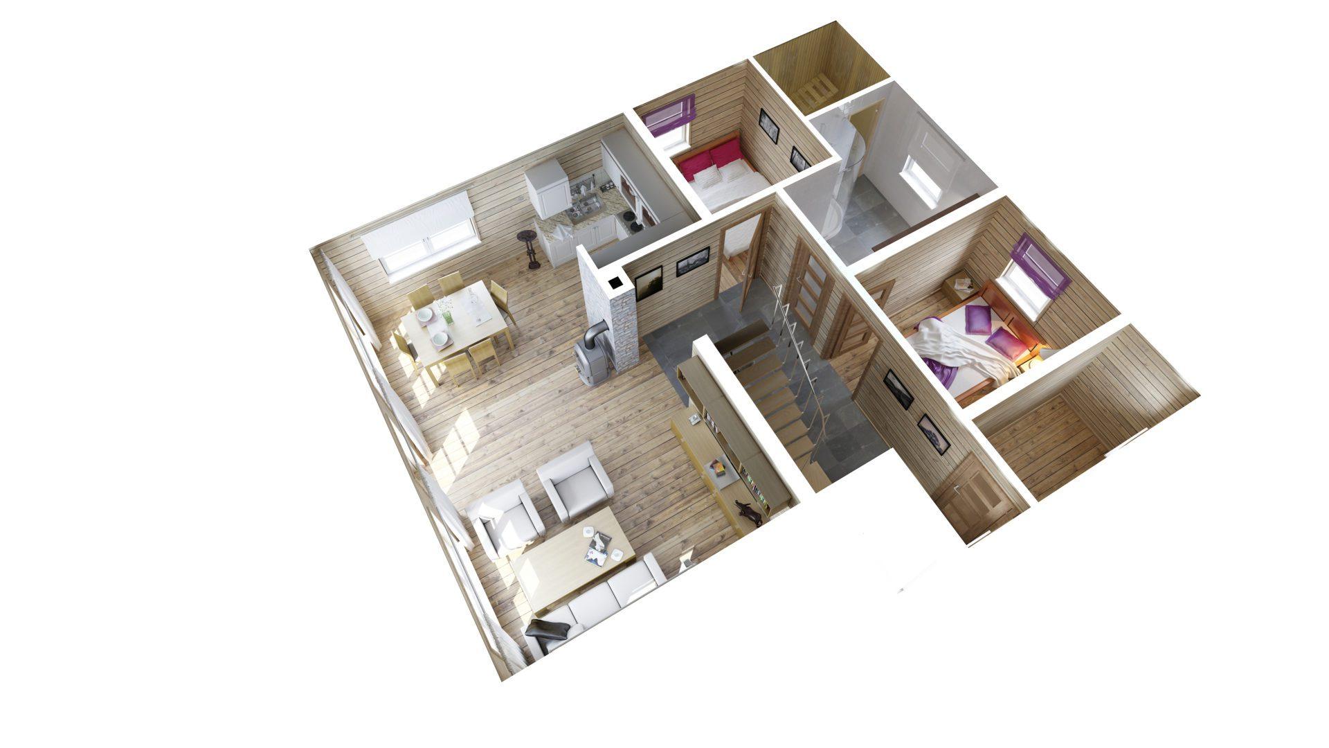 plan 3d parteru domku letniskowego