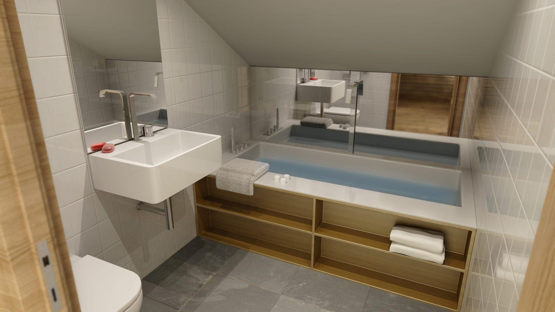 wizualizacja łazienki w domu letniskowym