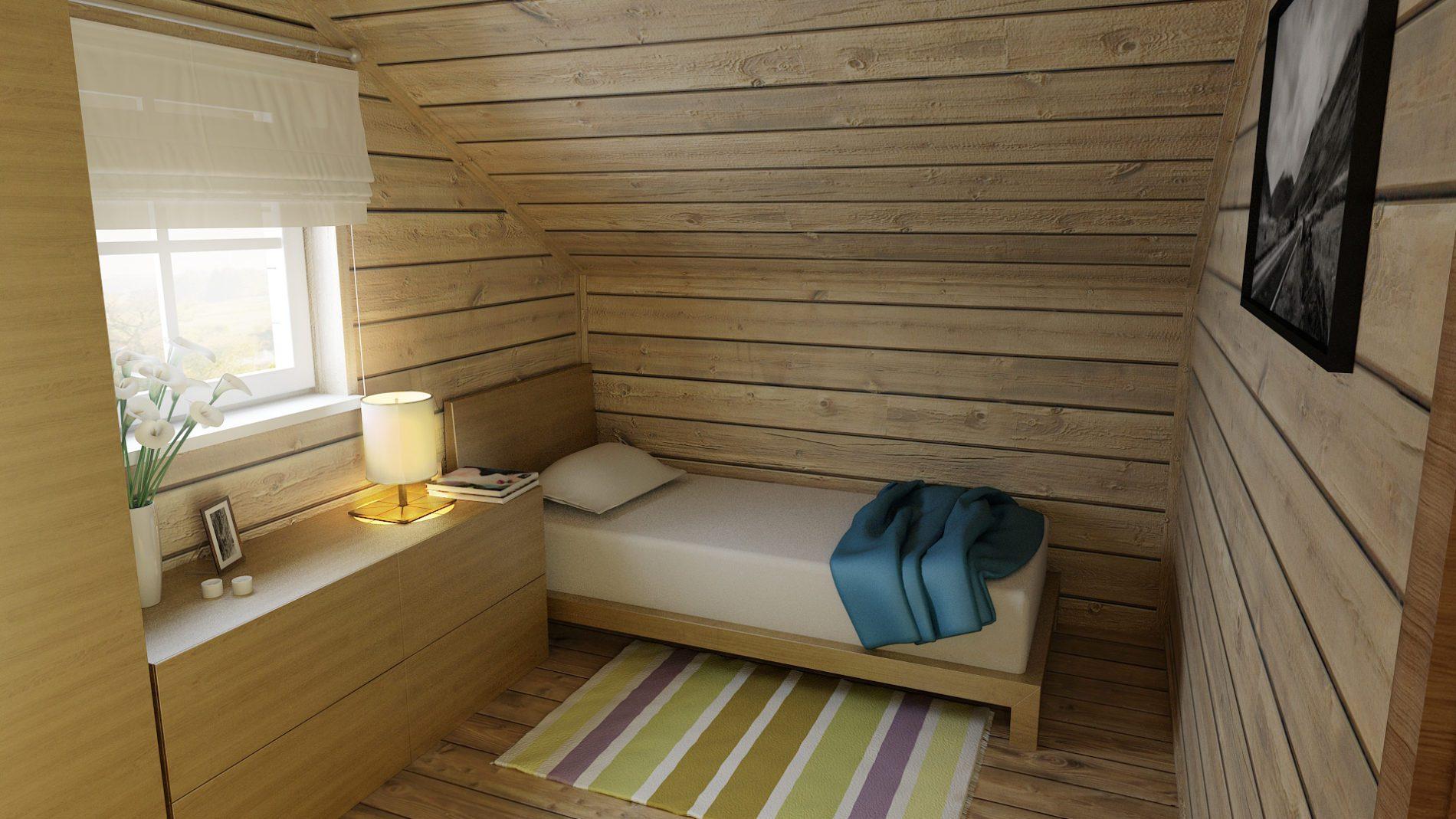 wizualizacja sypialni na piętrze w domu letniskowym