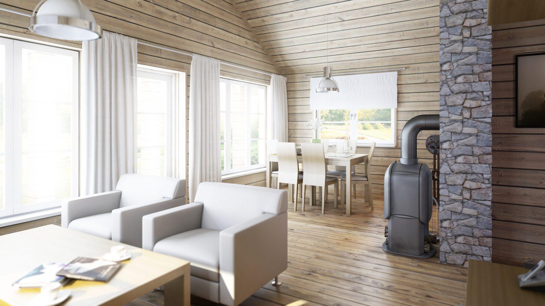 wizualizacja otwarty salon połączony z jadalnią