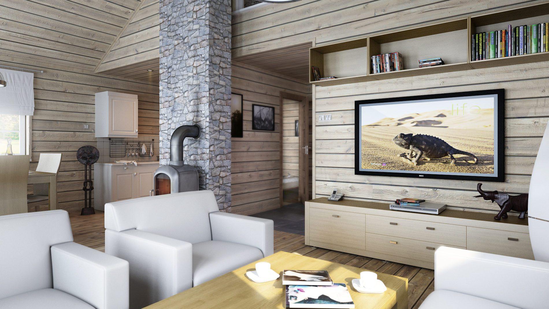 projekt salonu w domu w Norwegii