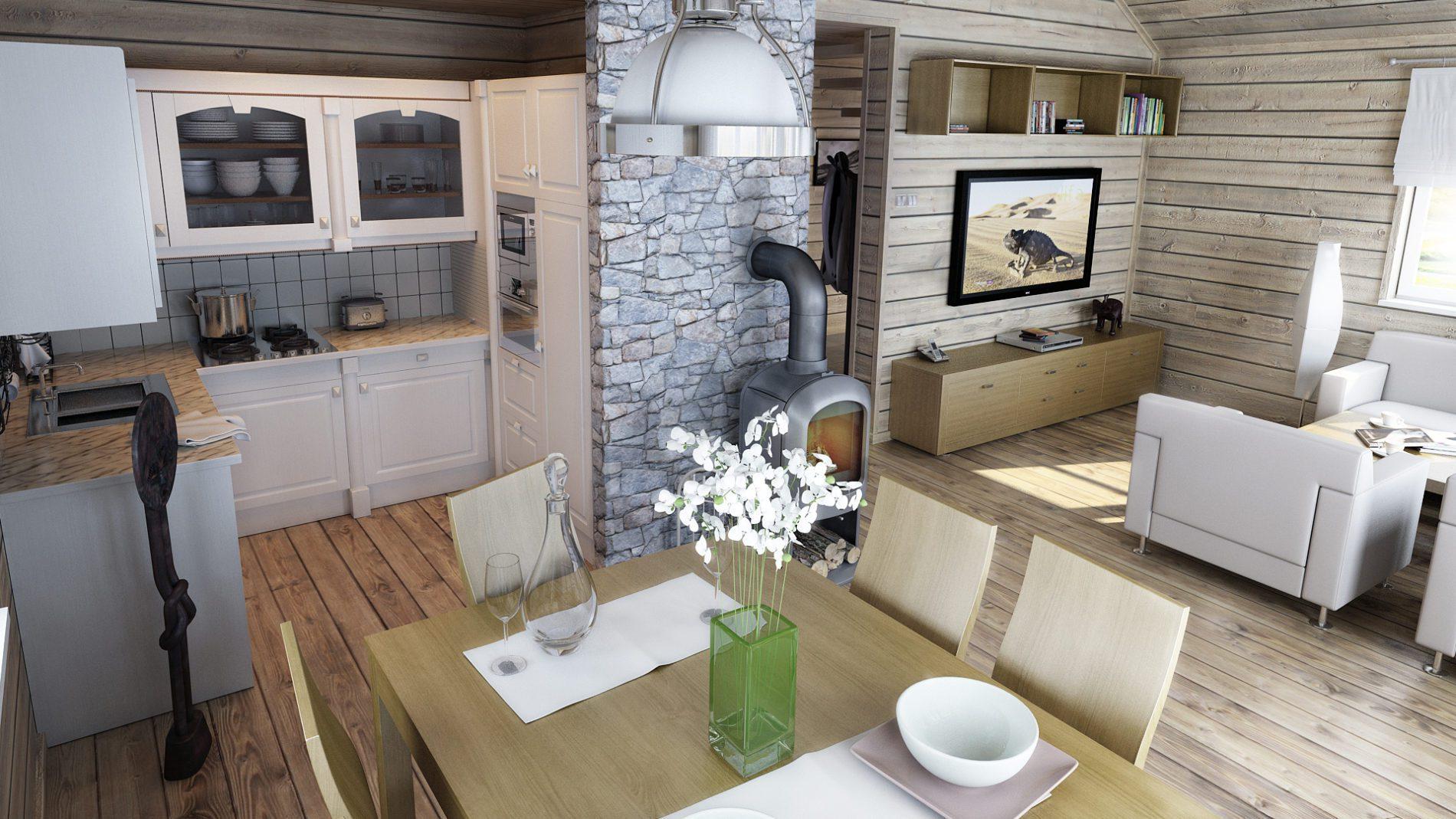 widok na kuchnię i salon - w domu letniskowym