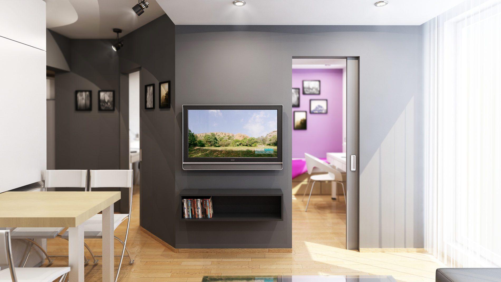 projekt salonu w niewielkim mieszkaniu