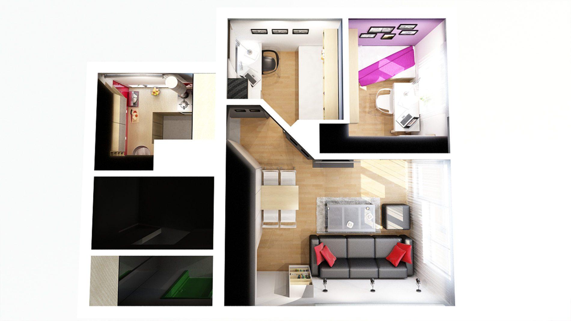 Projekt 3d małego mieszkania w Chorzowie