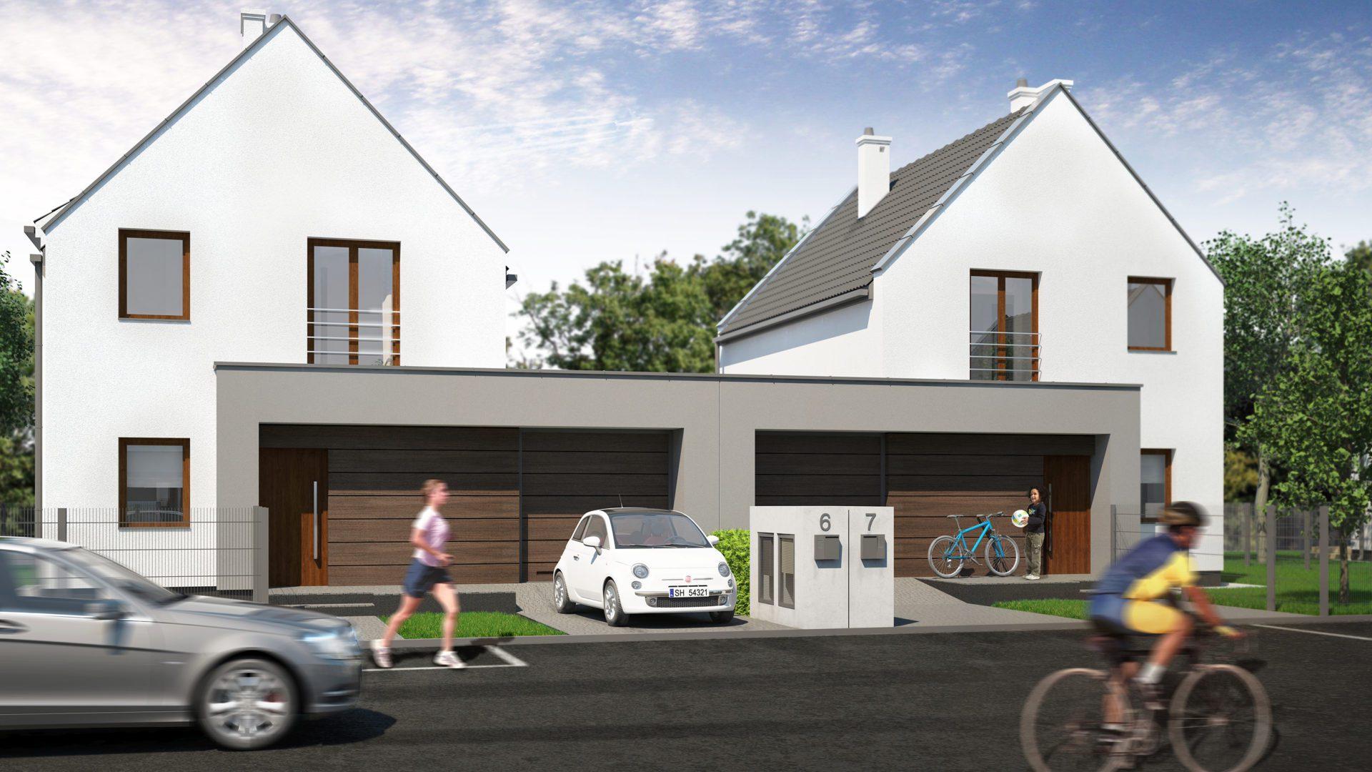 dom bliźniaczy wizualizacja architektoniczna