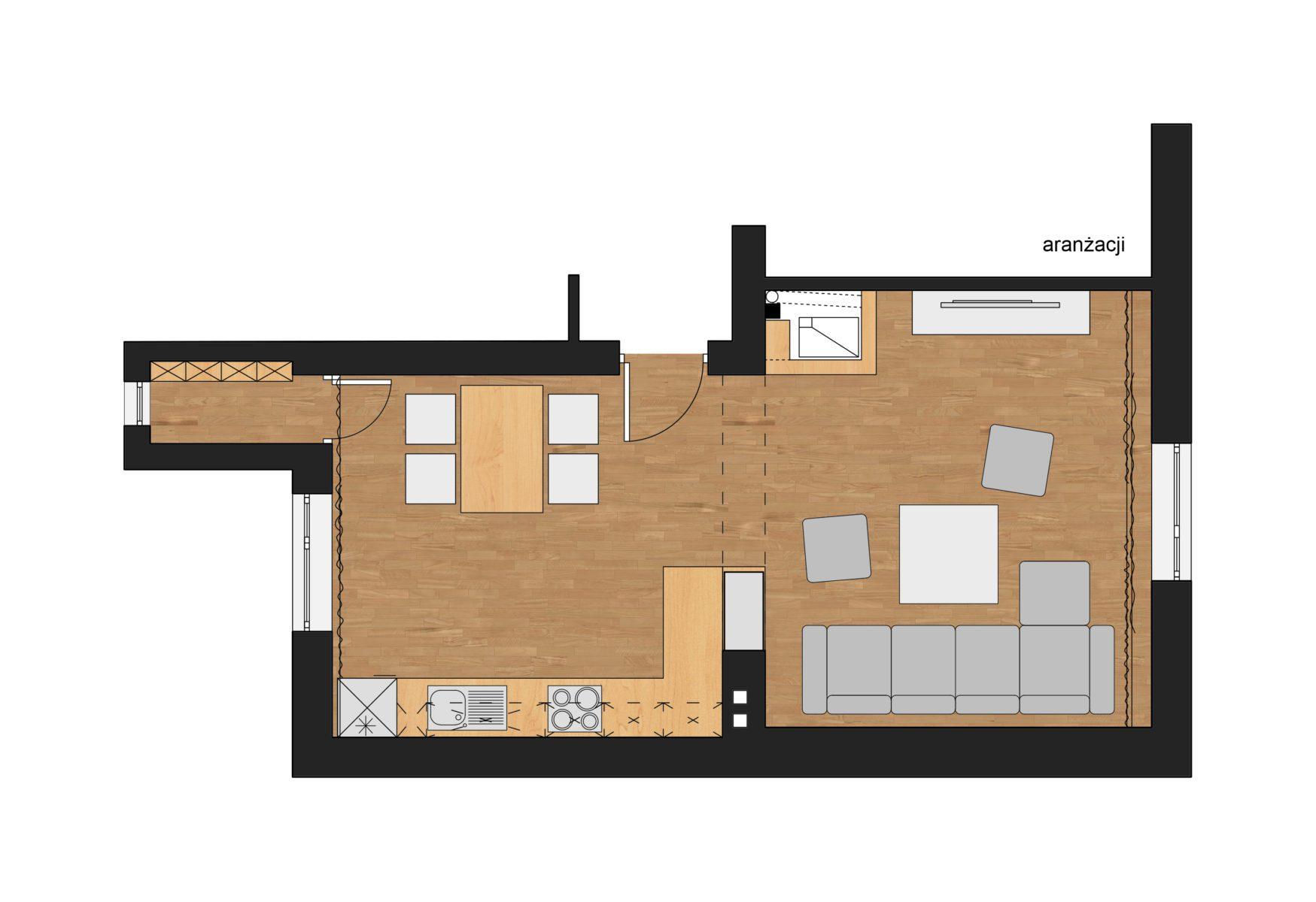 Projekt aranżacji kuchni i salonu