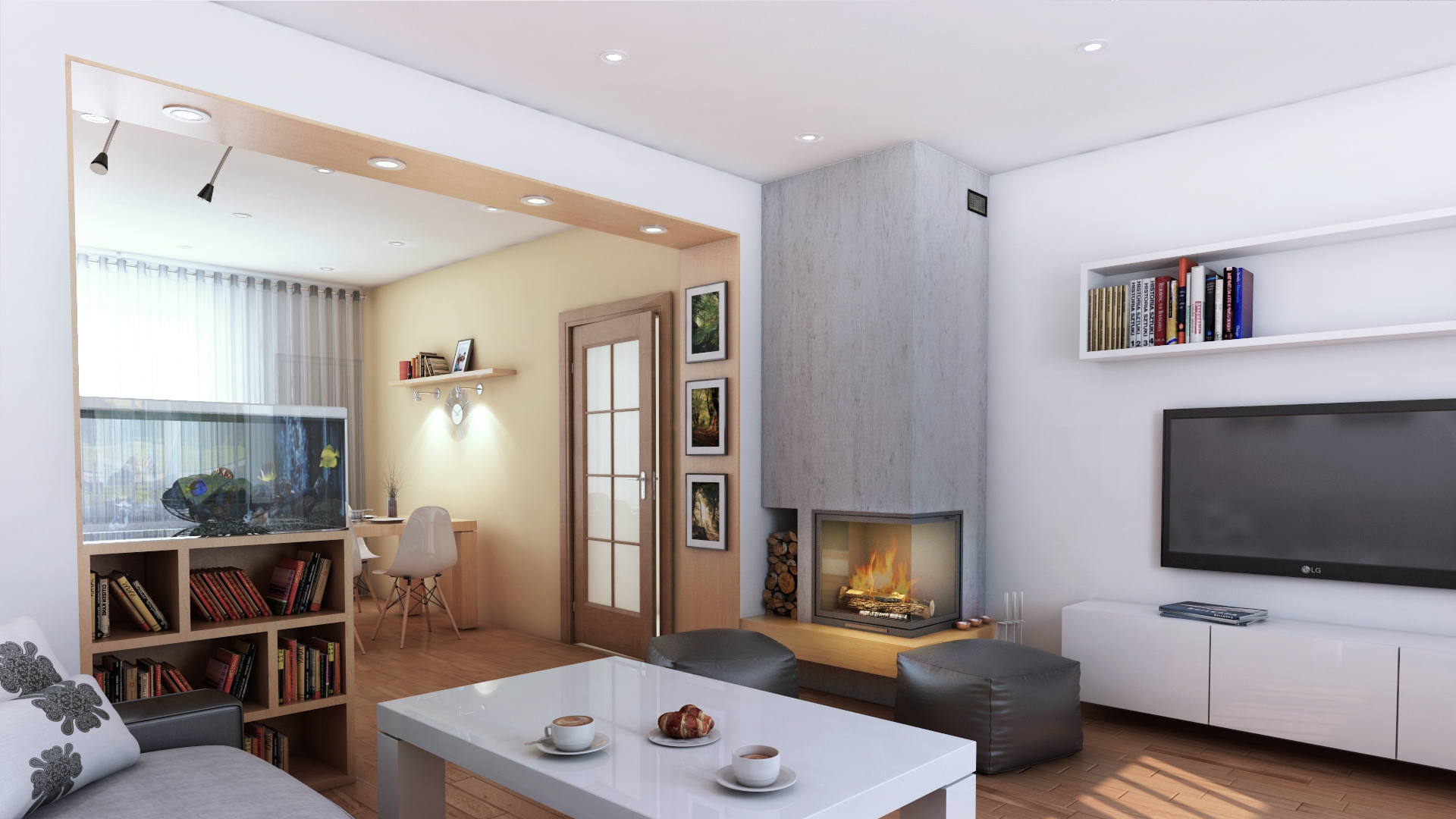 projekt salonu widok na kuchnię