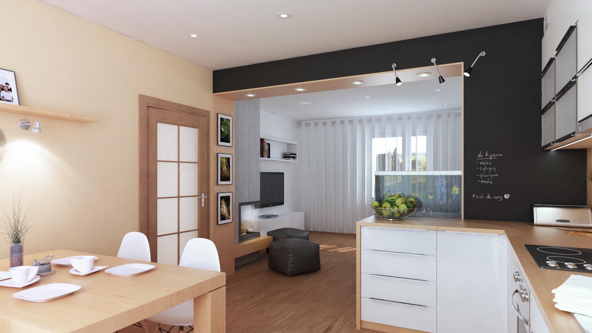 Projekt kuchni widok na salon