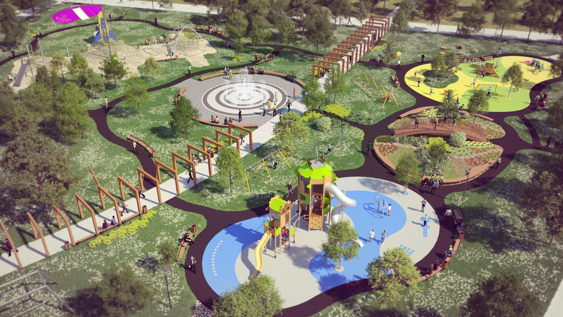 wizualizacja urbanistyczna parku w sosnowcu