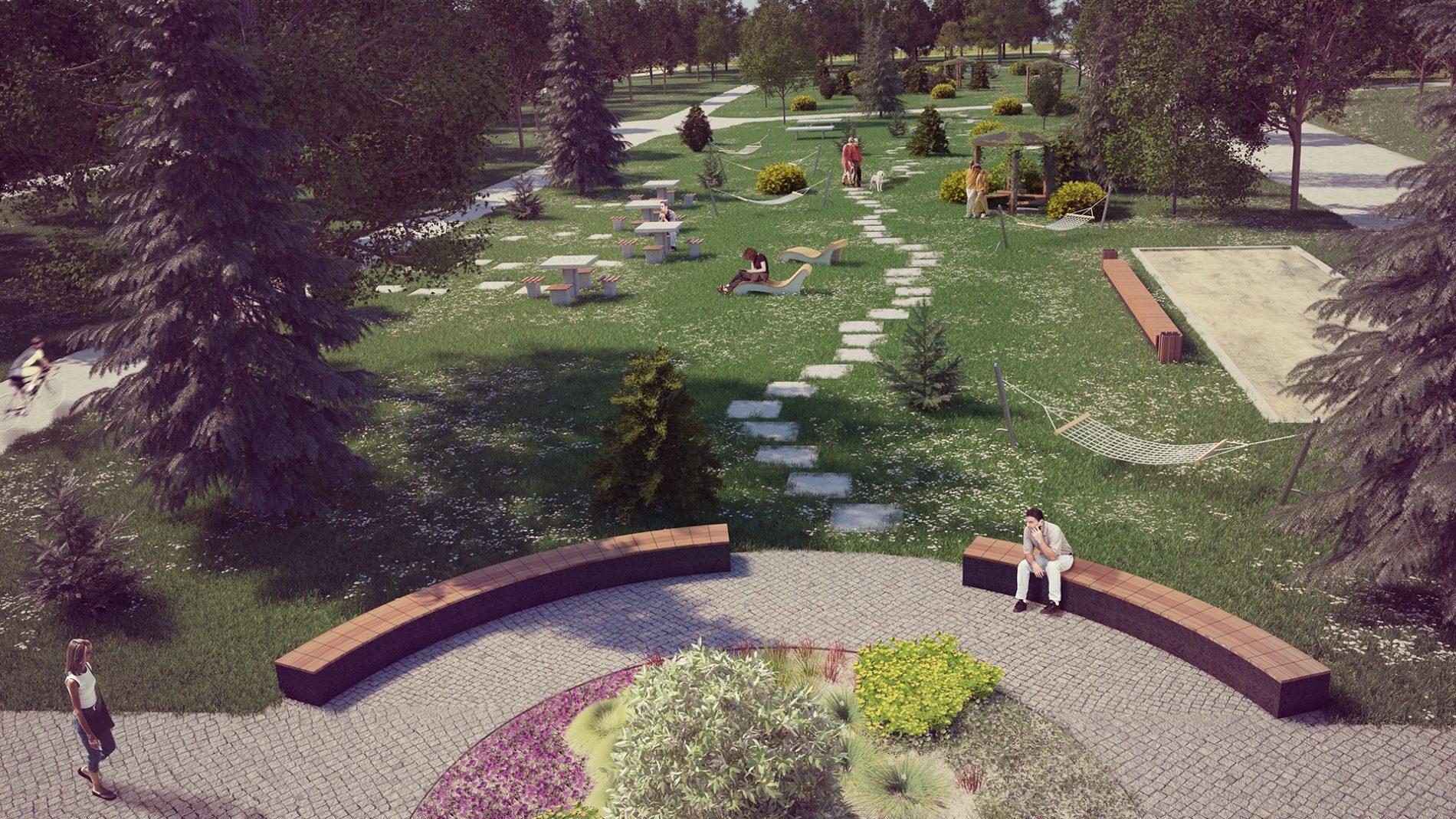 strefa seniora park kuronia sosnowiec wizualizacja