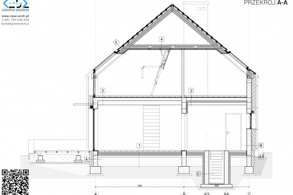 przekrój architektoniczny przez dom jednorodzinny