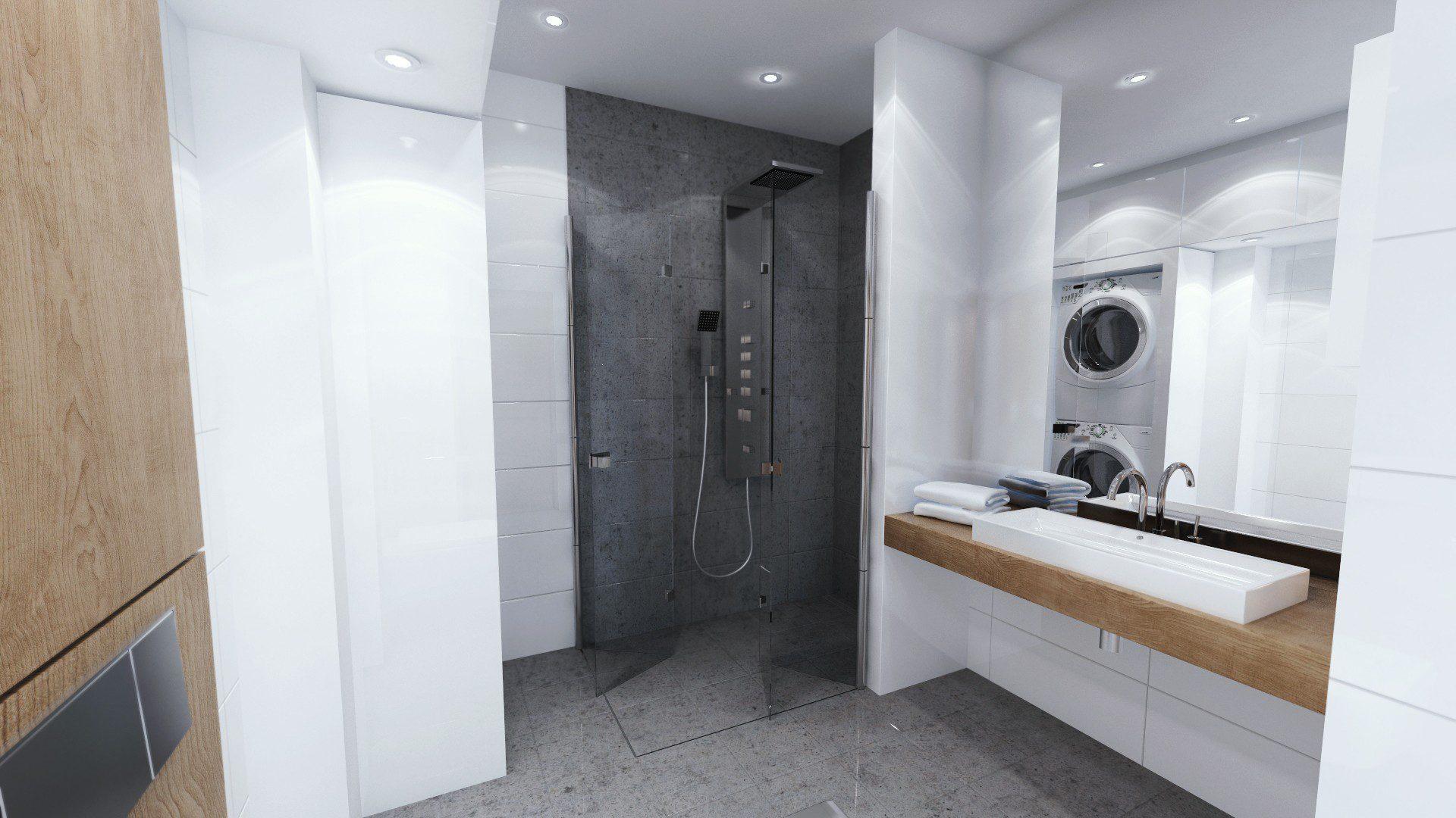 duża kabina prysznicowa dla niepełnosprawnych projekt łazienki