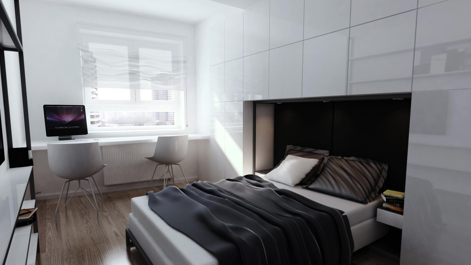 minimalistyczna sypialnia w bloku, projekt aranżacji wnętrza