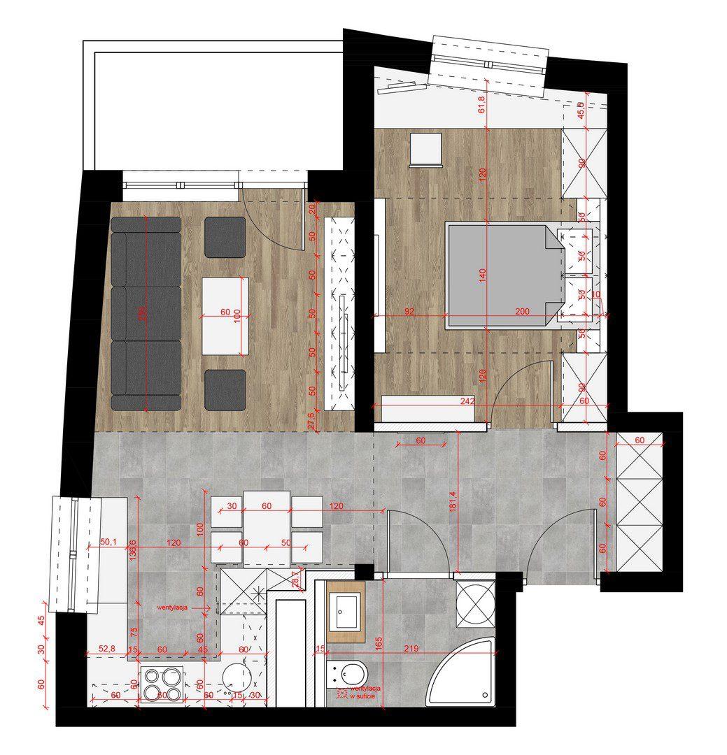 rzut mieszkania, projekt aranżacji wnętrza w Katowicach