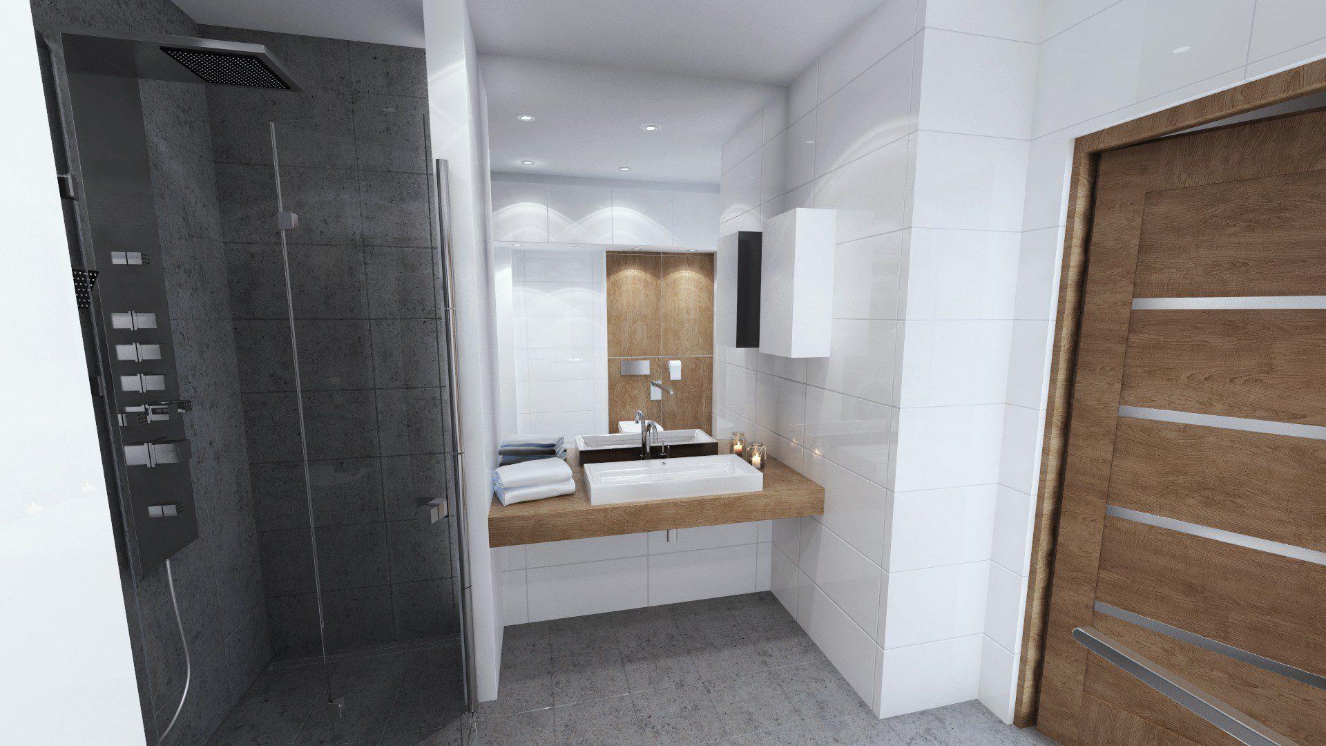 biała, jasna łazienka w mieszkaniu