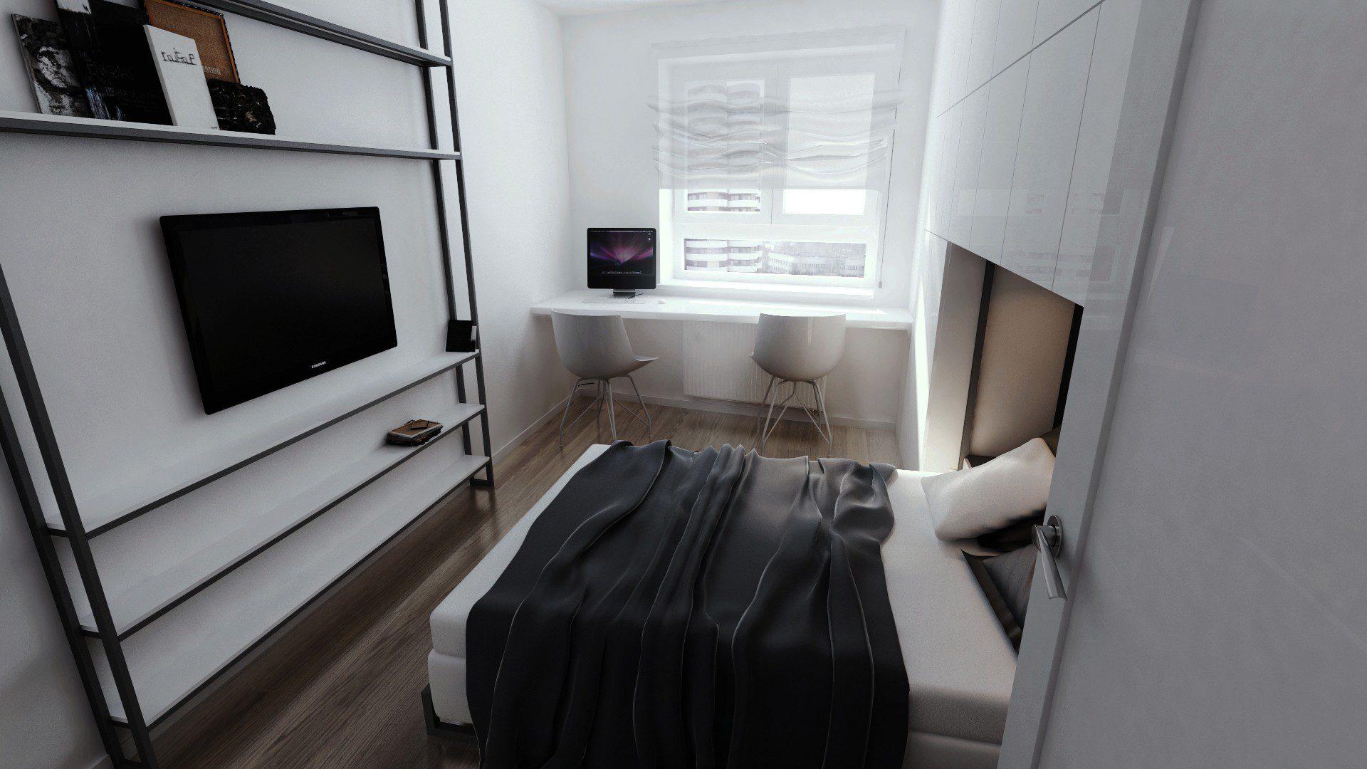 Sypialnia W Bloku Wizualizacja Architektoniczna Rese