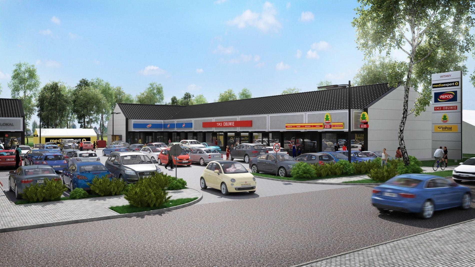 wizualizacja 3d pawilonu handlowego w Zdzieszowicach, Śląsk