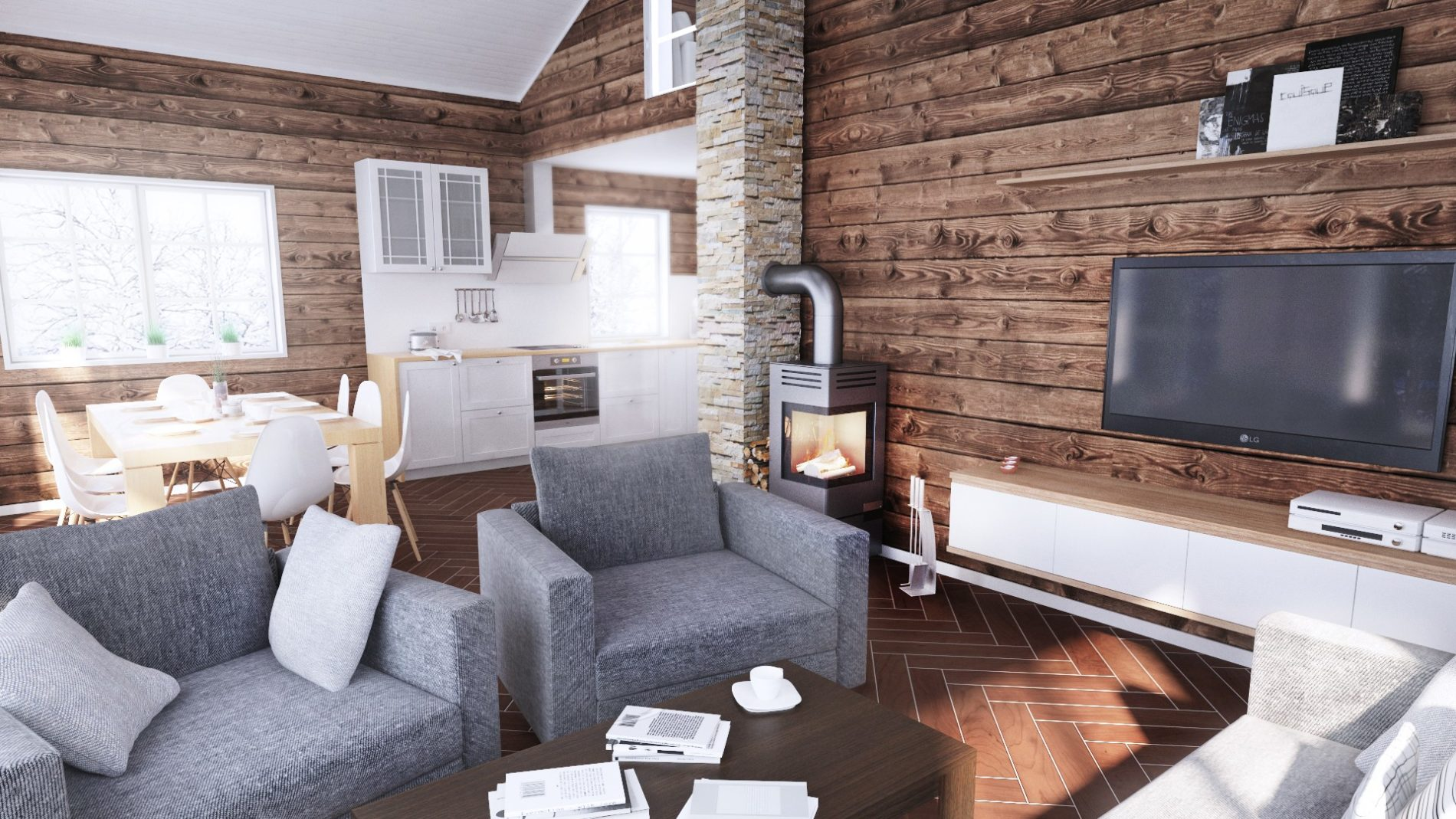 salon domku letniskowego w górach