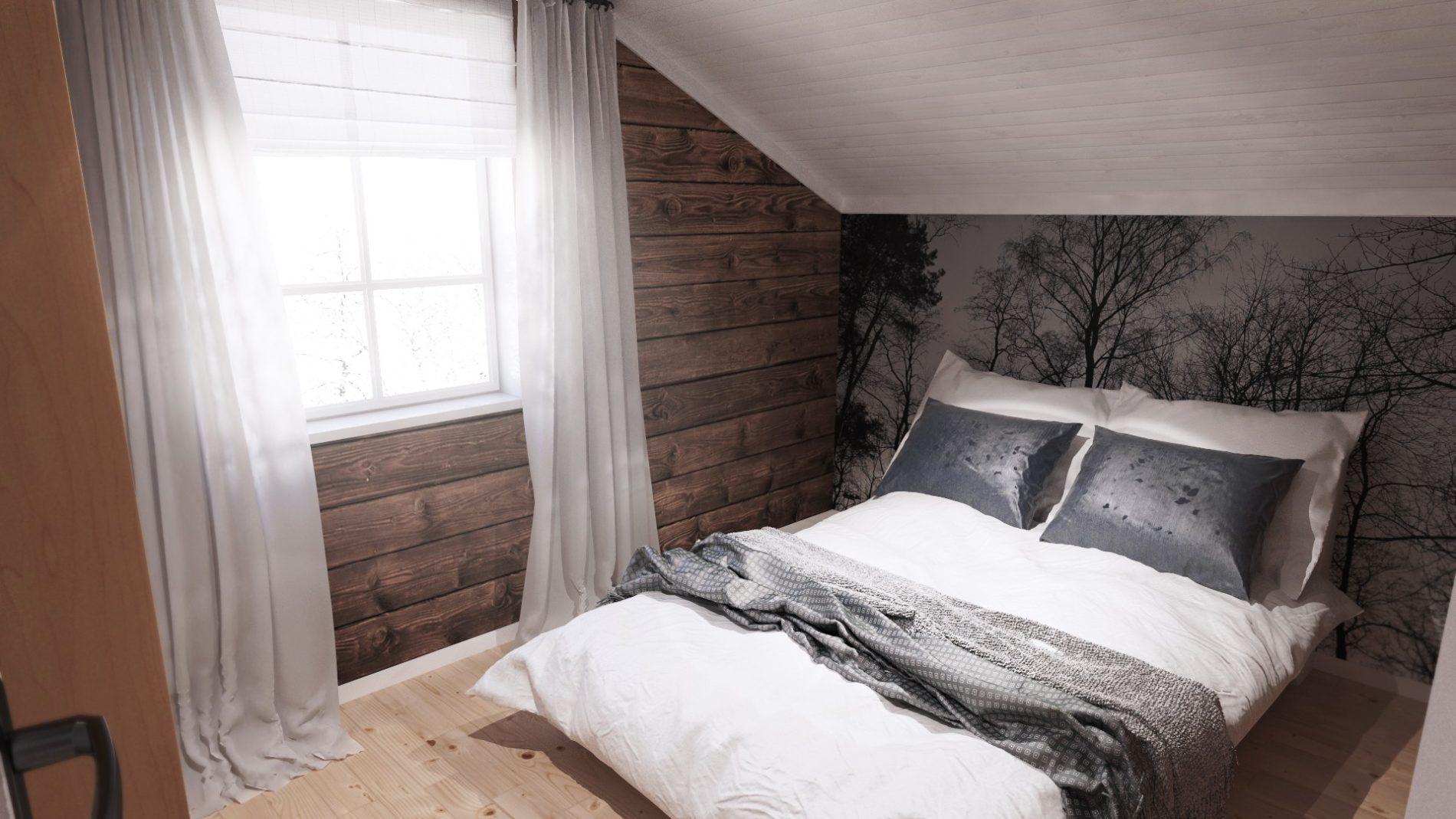 sypialnia domu w górach