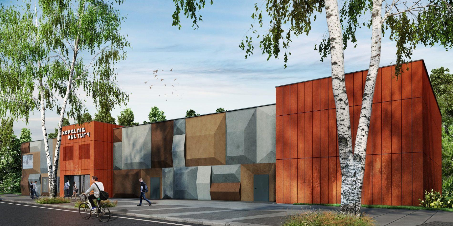 nowoczesna elewacja zewnętrzna domu kultury Śląsk