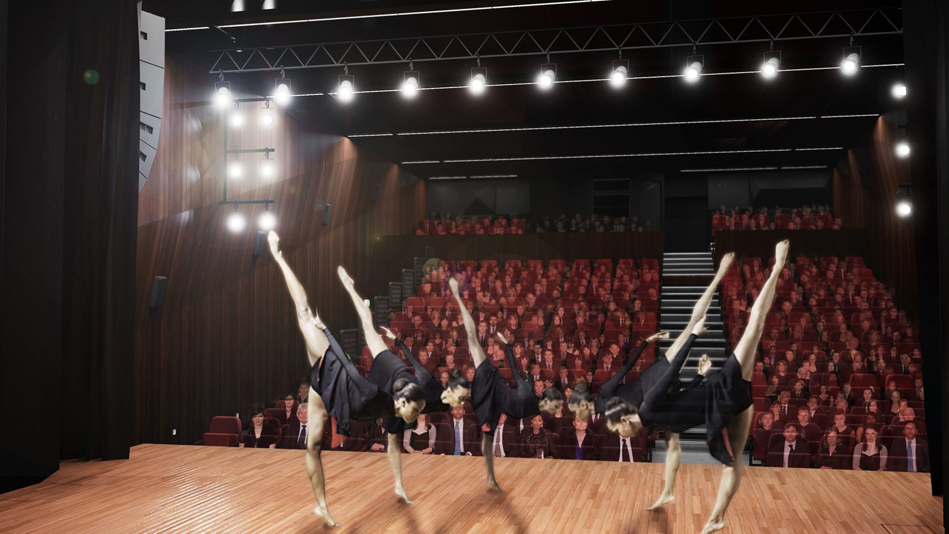 widok z sceny na widownię w budynku CSK