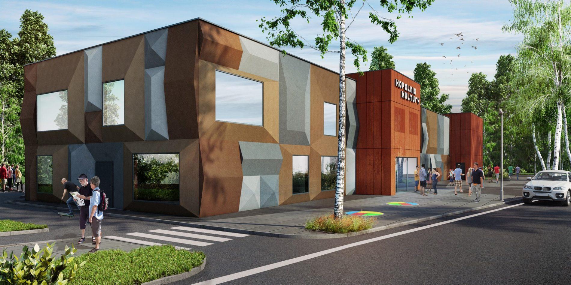 wizualizacja zewnętrzna budynku csk w Czeladzi