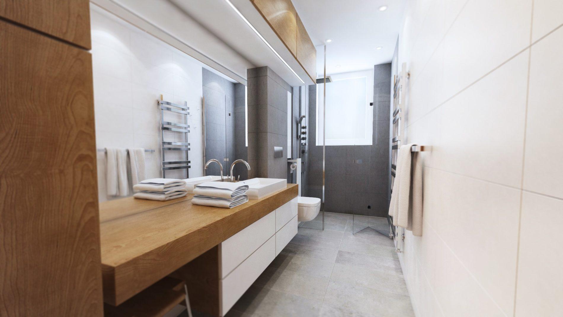 nowoczesna łazienka w starym mieszkaniu w kamienicy Śląsk