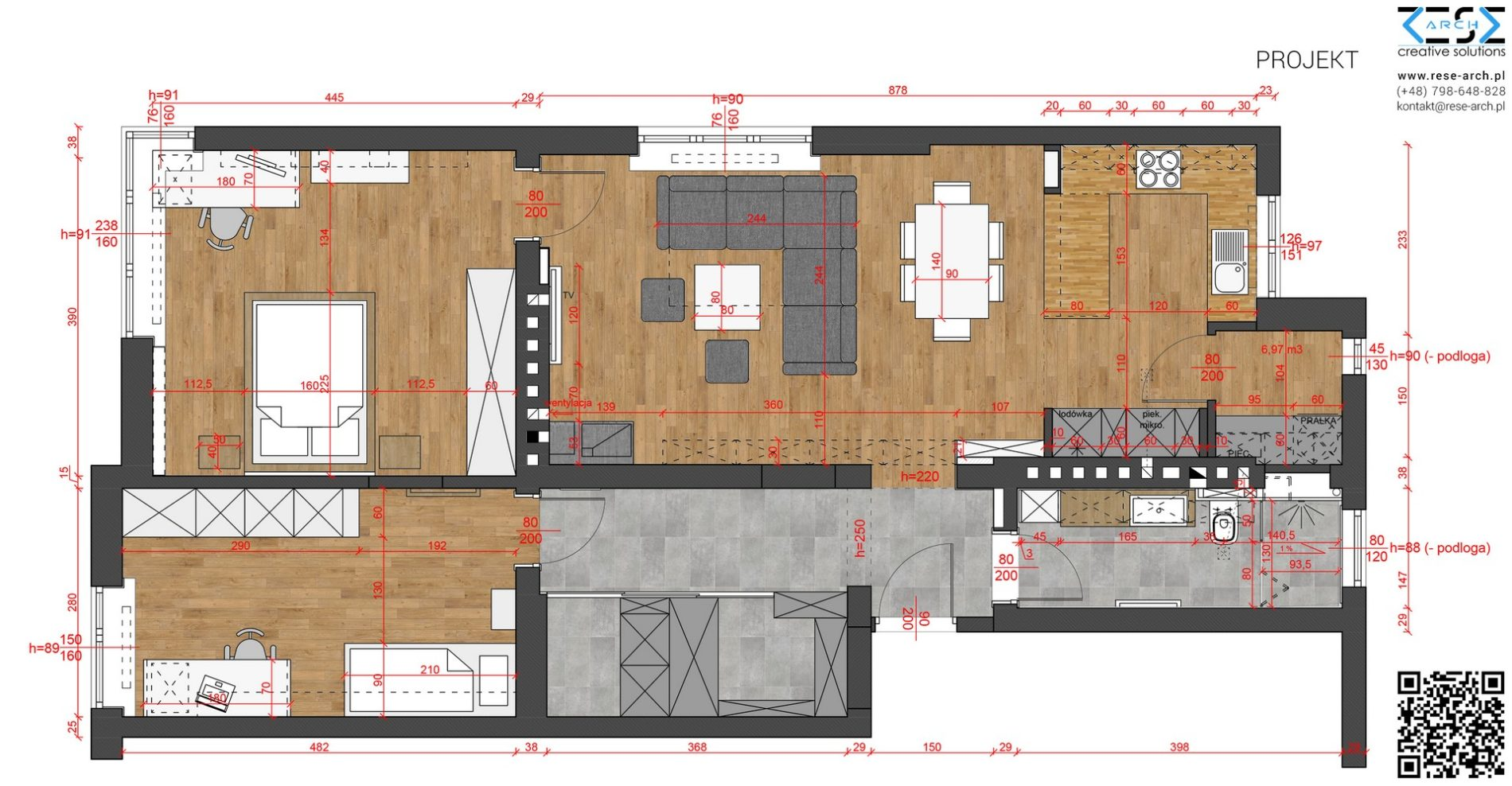 projekt aranżacji wnetrza mieszkania w kamienicy katowice