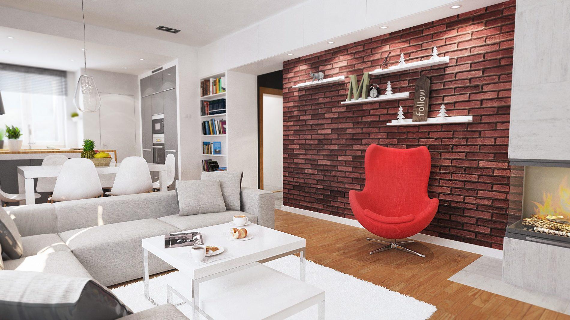 nowoczesny salon w kamienicy pokój dzienny Katowice Śląsk