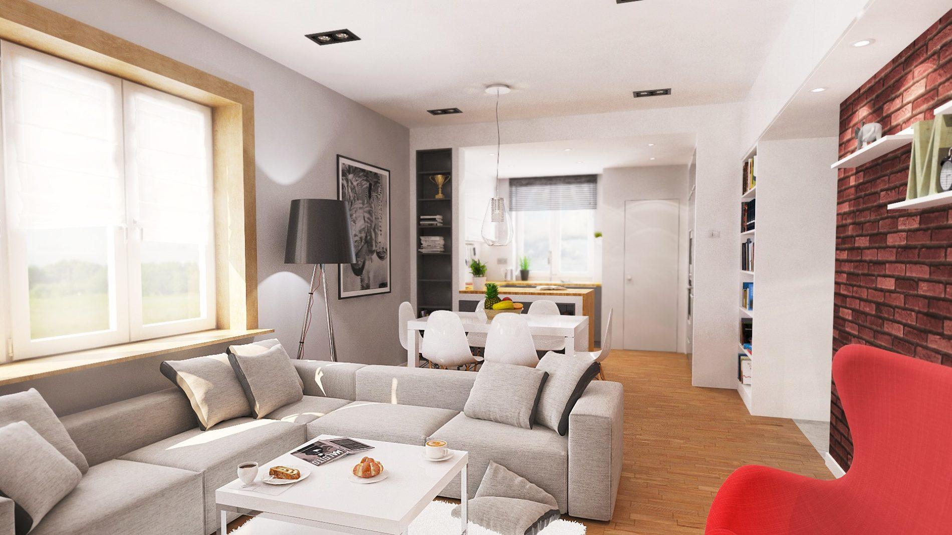 pokój dzienny projekt aranżacji mieszkania Katowice
