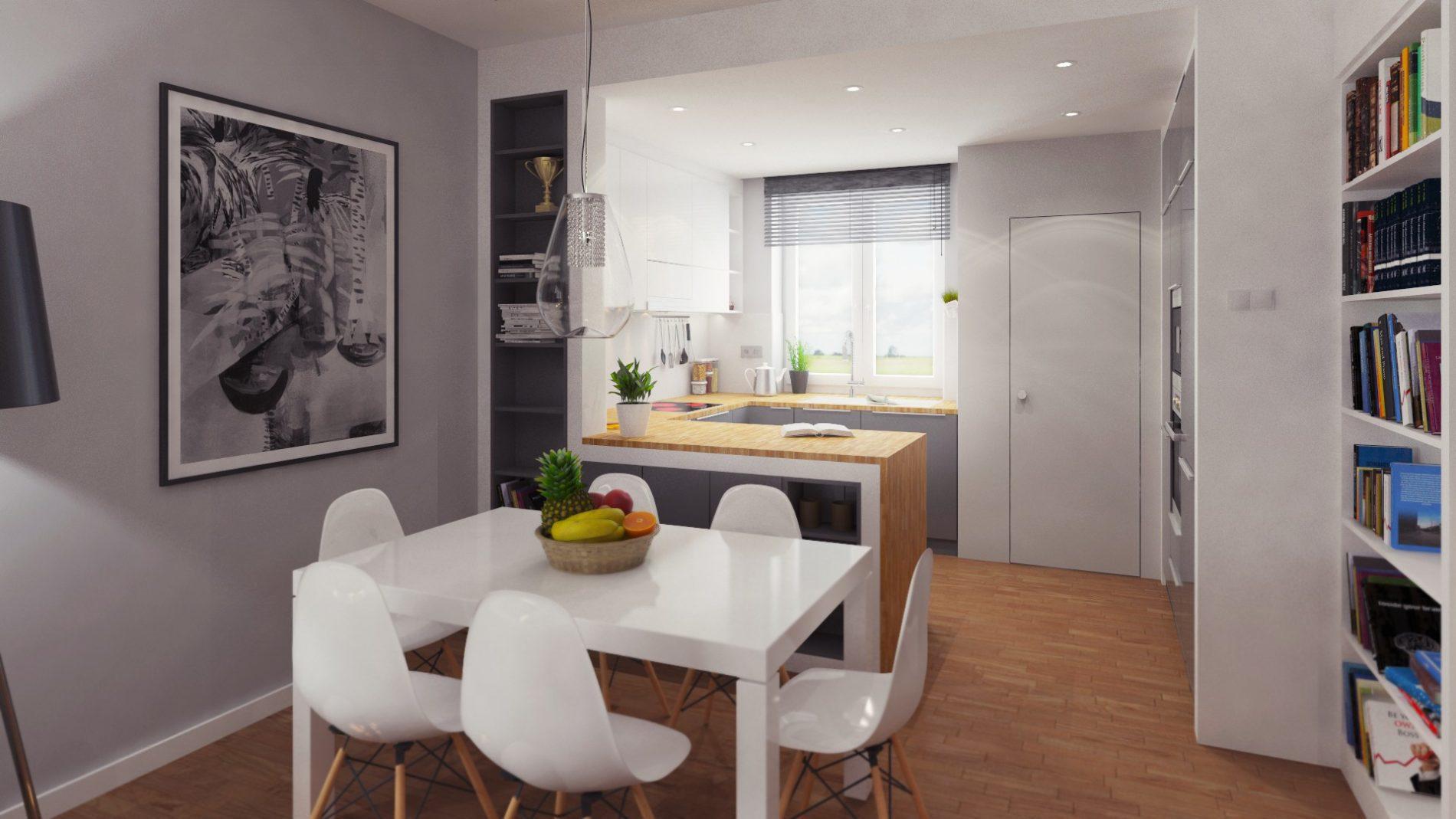 wizualizacja mieszkania kuchnia jadalnia katowice śląsk