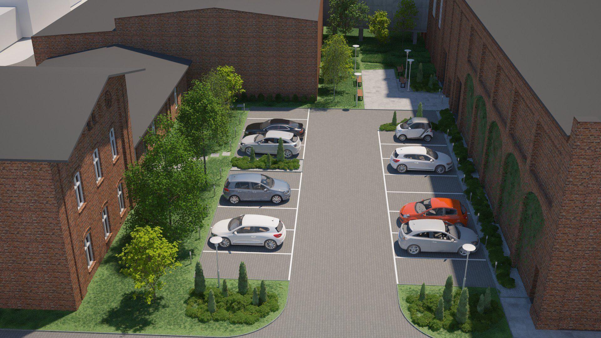projekt parkingu między halami