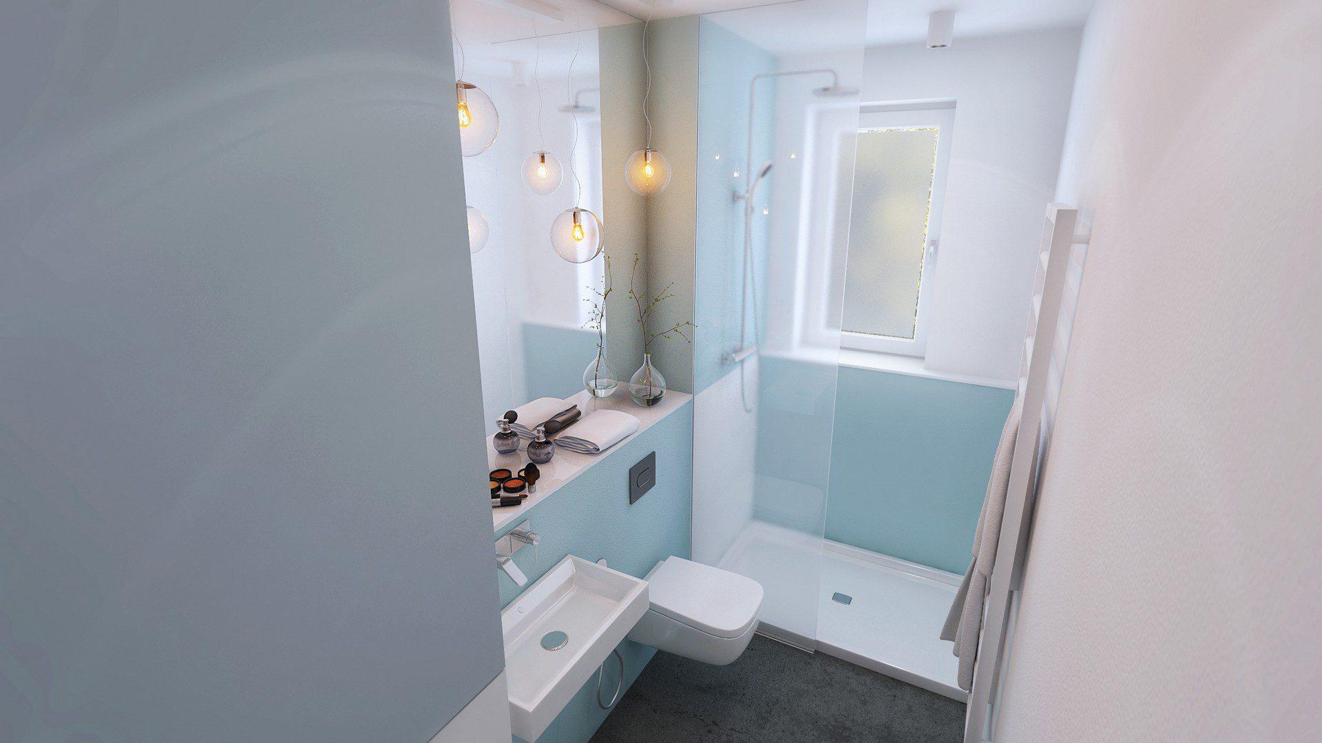 wizualizacja architektoniczna łazienki w mieszkaniu w katowicach