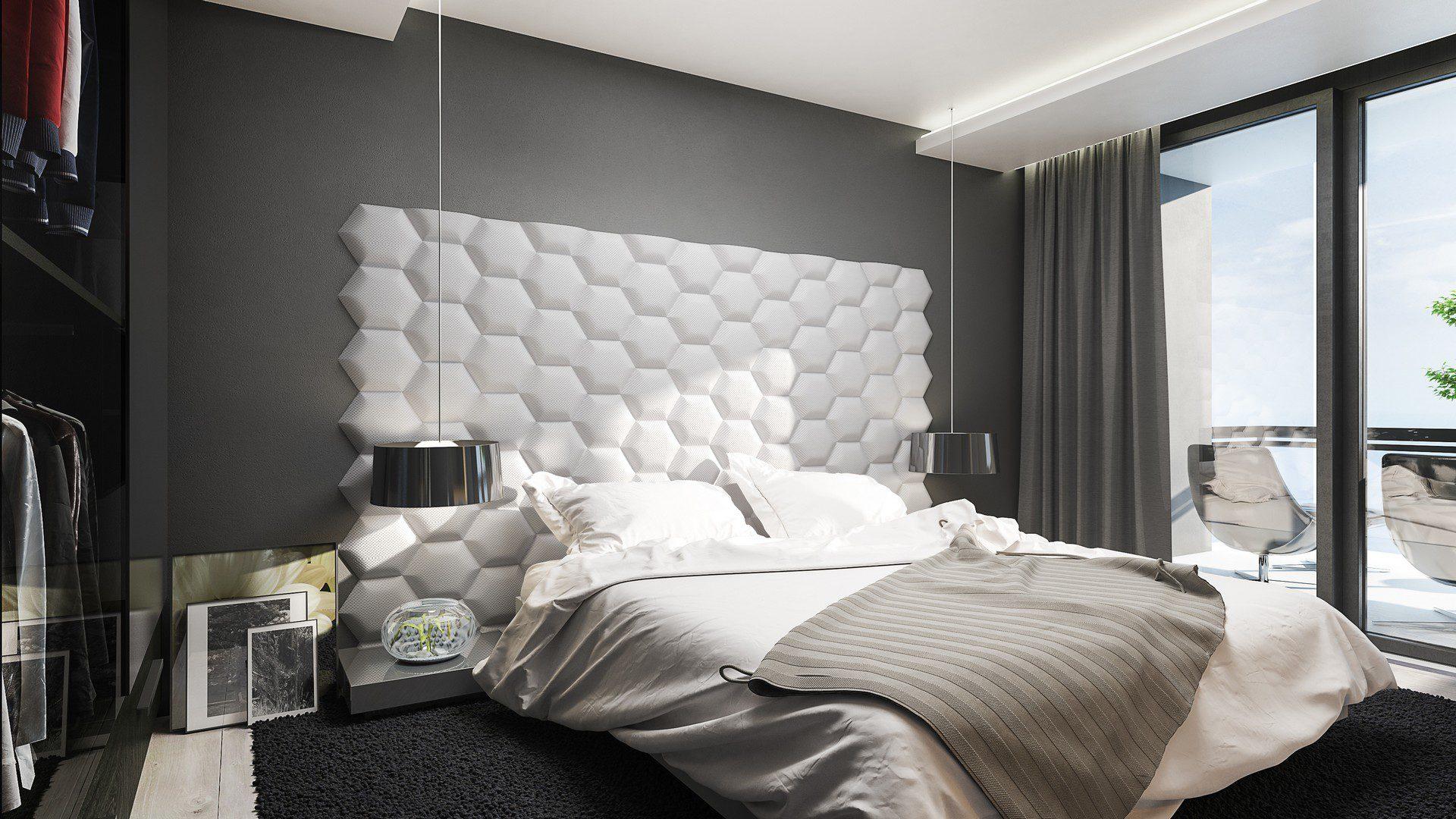 fotorealistyczna wizualizacja architektoniczna nowoczesnej sypialni