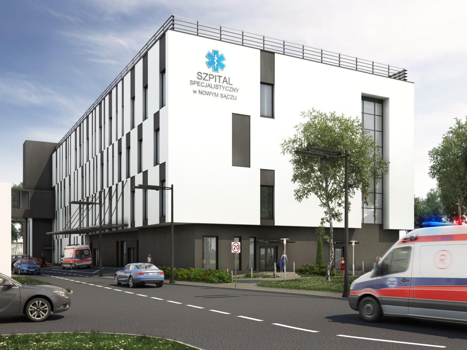 szpital wizualizacja architektoniczna budynek wielokondygnacyjny