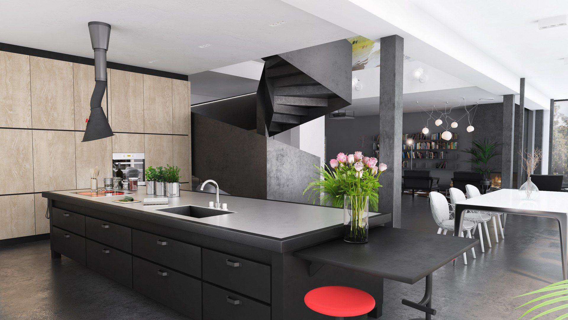 wizualizacja kuchnii w domu jednorodzinnym śląsk