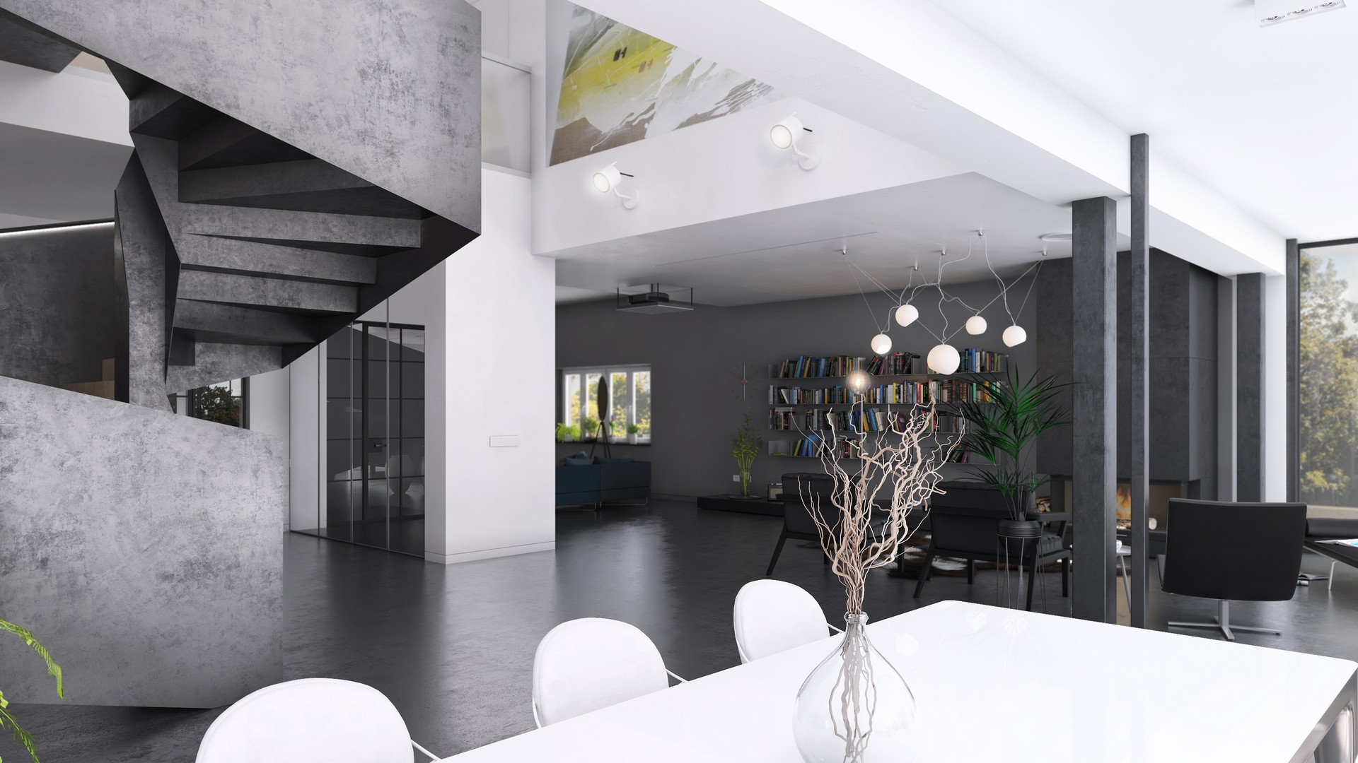 strefa dzienna w domu jednorodzinnym wizualizacja 3d