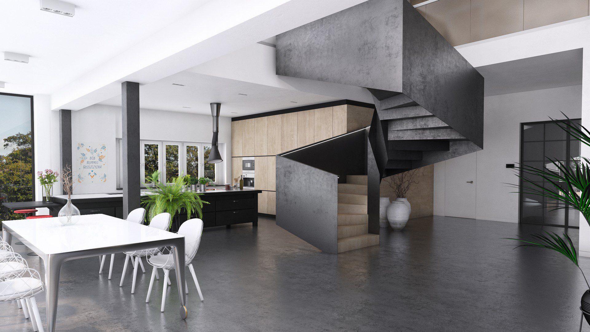 kuchnia i jadalnia w domu jednorodzinnym wizualizacja 3d