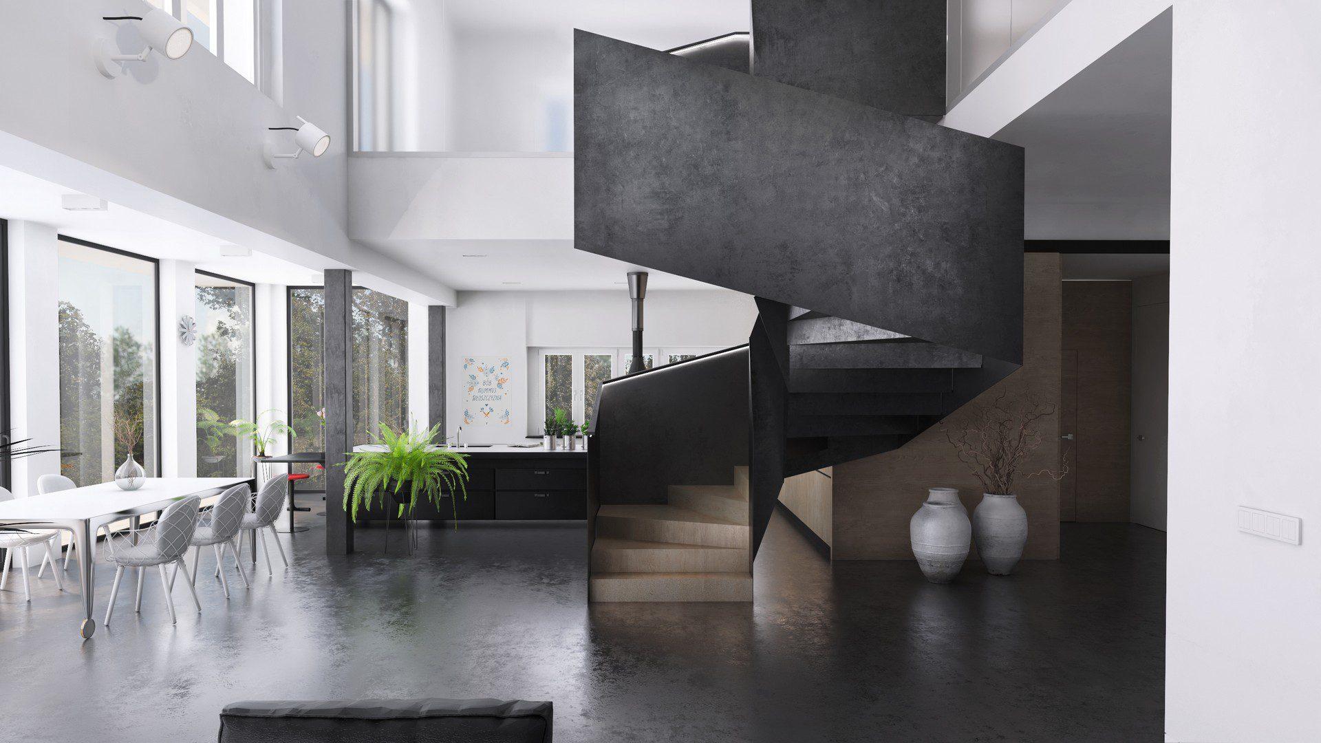 nowoczesne wnętrze domu śląsk wizualizacja 3d